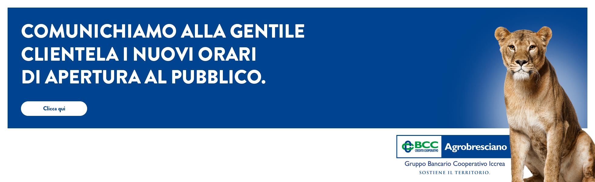 Banner Avviso e orari filiali Agrobresciano